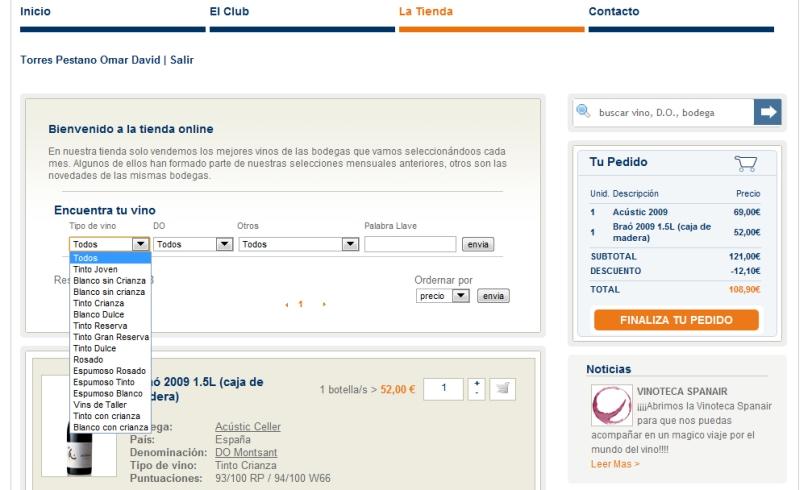 Opciones de búsqueda Tienda Vinoteca Spanair