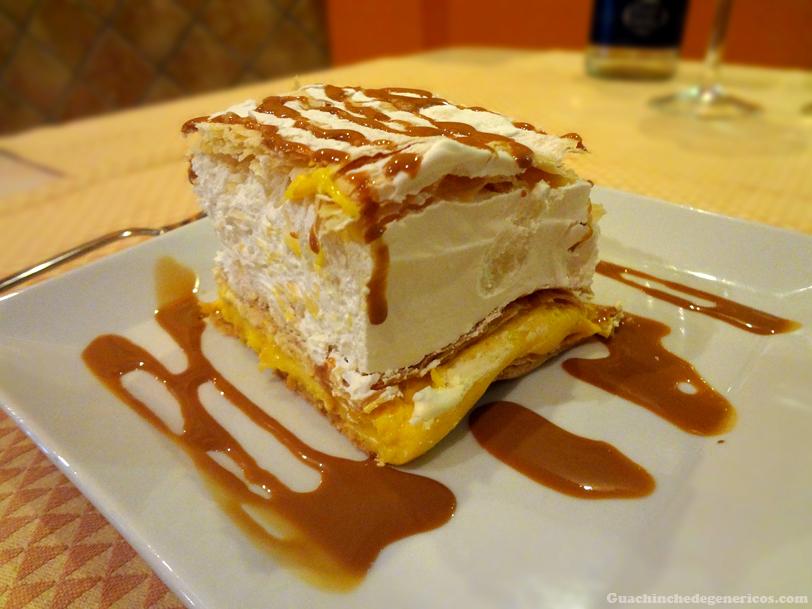 Tarta milhojas, Crema de yogur de limón, Restaurante Donde Pablo en Madrid