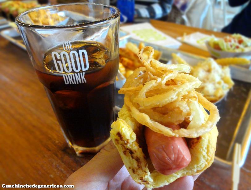 Hot dog 4 (salsa barbacoa y aros de cebolla). TGB: The Good Burger, Madrid